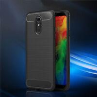 For LG Q7/Q7 Plus/Alpha Shockproof Hybrid Slim Carbon Fiber Hard Case Cover Gel