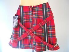 Nos Tiger Of London Red Wool Plaid Mini Skirt Punk Straps Made in England UK 12