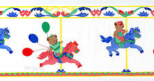 Carousel Girls Balloons Girls Red Blue Cute Horses Vtg Wallpaper Wall Border