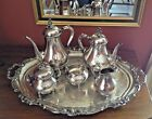 "REED + BARTON ""Provencial"" # 7040 5 PC SILVERPLATE TEA SET w/ GORHAM VC777 TRAY!"
