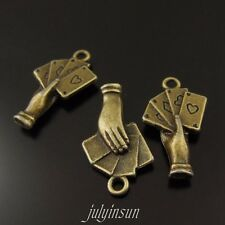 5PCS Vintage Bronze Tone Alloy Playing Cards In Hand Charms Pendants Crafts