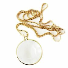 Lorgnette Necklace Magnifier Magnifying Monocle Glass Lens with Gold Chain