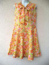 Vintage 1960s SCOOTER DRESS Dropped Waist Mod Twiggy Mini FLORAL Tie Neck M