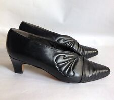 "Trickers Black Leather 2"" Low Heel Slip On Court Shoe UK 7 EU 40 Business Work"