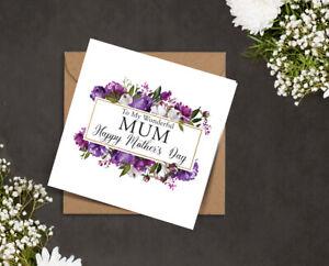 MOTHERS DAY card wonderful MUM Mam Nana purple white peonies floral golden frame
