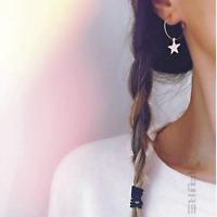 Trendy Women Simple Gold Silver Color Star Hoop Celebrity Dangle Drop Earrings