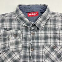 Wrangler Button Up Shirt Men's Size 2XL XXL Long Sleeve Gray Plaid Cotton