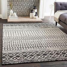 "Distressed Geometric Soft Black White Area Rugs Carpet Size -7'10"" x 10'3"""