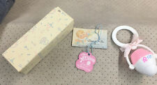 Vintage Sanitoy Baby Rattle Pink With Box Antique