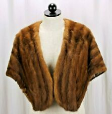 VTG ZCMI SLC Cognac Brown Mink Winter Wedding Fur Shawl Stole Wrap Cape Pockets
