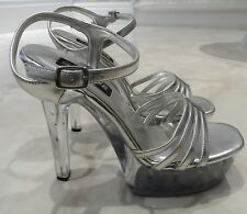 * VGC Silver Perspex Stripper Lap Pole Erotic Fetish Dance High Heel Shoes 8 41