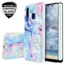 For Samsung Galaxy A10e A20 A30 A50 Phone Case Cover, Galaxy Marble Glitter TPU