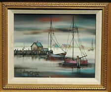Beautiful Mid Century Oil on Canvas Harbour Scene by German Artist Hugo Casar