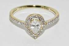 9ct Yellow Gold 0.50ct Pear Cut Halo Cluster Engagement size O - UK Hallmarked
