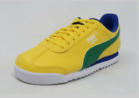 526cc90a46a PUMA Roma Basic Jr Yellow Green Blue Lace Up Fashion Youth Boy Sneaker Kid  Shoes