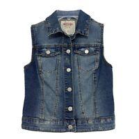 Mossimo Distressed Denim Jean Vest Womens Sz S Small Blue
