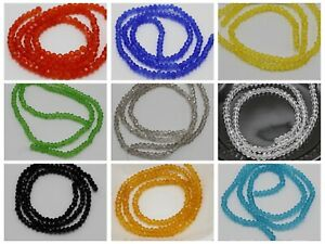 300Pcs Faceted Rondelle Bead Crystal Glass Beads 2X3mm Color for Choice