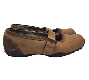 Skechers Mary Jane Shoes Womens 8 Brown Suede 46361