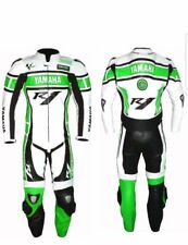 YAMAHA-R1 green-Motorcycle Racing Leather Suit-MotoGp-CE Approved Protectors