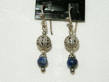 "LAPIS LAZULI GEMSTONE EARRINGS SS HOOKS 3.5CM ""NEW"" AUZ MADE E109"