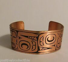 Vintage Wide Band Copper Cuff Bracelet w. Etched Monster Lizard Monkey Face