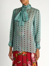 322759bbc77d $1900 Gucci Ladies Red Ladybird Jade Green Silk Chiffon Shirt Blouse Size  IT40 S