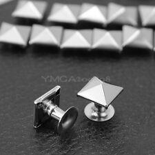"100 Silver Pyramid Rapid Rivets Studs Punk for Bag Shoes Bracelet 0.3x0.3"" hot"