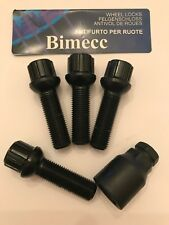 ALLOY WHEEL LOCKING BOLTS 35mm THREAD RADIUS BIMECC M14X1.5 FOR VW PASSAT CADDY