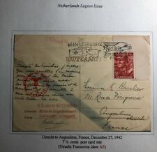 1942 Utrecht Netherlands Postcard Chemical Censored Cover To Angoulime France