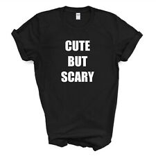 CUTE T-SHIRT/CUTE BUT SCARY/STATEMENT/FUNNY/HALLOWEEN T-SHIRT/KIDS LADIES MENS
