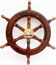 Collectible Wooden Ship Wheel Pirate Captain Boat Steering Nautical Maritime 24""