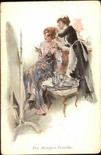 Beautiful Woman Reading Letter Hand Maiden MORNING TOILET c1910 Postcard