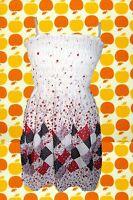 162✪ Blumenkinder Flower-Power Hängerchen Top Tunika Patchwork Optik weiß rot