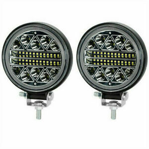 2PCS LED Round Work Light Bar 102W 4WD Off Road Boat SPOT Flood Driving Fog Lamp