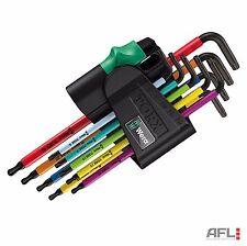 9 piezas wera 073599 Color Codificado Ball End seguridad Tamper Torx clave conjunto TX8-TX40