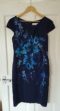 Worn Once £169 John Lewis/Damsel in a Dress Size 14 Navy Floral Silk Wedding