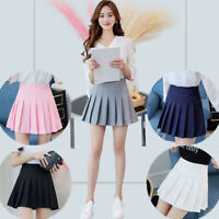 Chic Women Girls Tennis High Waist Skater Pleated Mini A-Line Skirt Short Dress