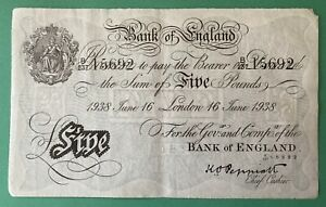 OPERATION BERNHARD WWII COUNTERFEIT 1938 WHITE FIVE POUND £5 NOTE - VERY FINE