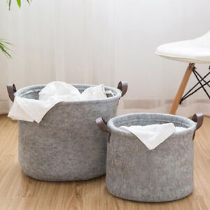 Grey Felt Storage Basket Bin with Handle Closet Bedroom Clothing Toy Storage SML