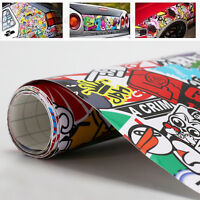 "60""x20"" Waterproof PVC Sticker Bomb Scrawl Wrap Sheet Decal For Auto Car"