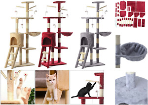 Large Cat Kitten Tree Scratch Post Bed Multi Level Activity Climbing Tower 1.4m