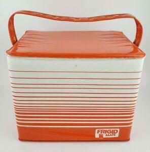 Vintage Frigid Mate Soft Side Cooler Orange White Stripes Vinyl Handle USA RARE