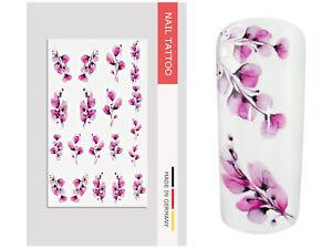 NailArt Nagel Wasser Tattoo Wrap Blume XVII Sticker Finger Aufkleber Design lila
