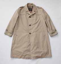 Vintage Brown Cotton Blend STRELLSON Military Button Trench Coat Jacket Size XL