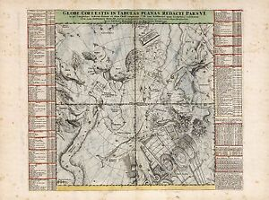 Old Vintage Decorative Stars map Centaurus Phoenix Doppelmayr ca. 1742