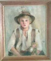 Patrick Lambert Larking Portrait Sherpa Girl w Hat Sussex GB 1938 Oil Painting