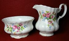 "ROYAL ALBERT china MOSS ROSE pattern Creamer & Open Sugar Bowl - 3-7/8"" & 2-1/2"""