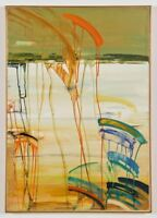 Berenice D'Vorzon Original Abstract Canvas Painting Signed Artwork 1980s Label