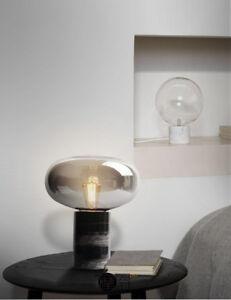 Nordic Modern Marble Base Glass Shade Table/ Desk Lamp Smoky Gray Reading Lamp