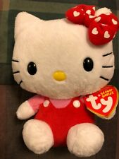 Hello Kitty Ty Beanie Baby w/ Red Bow w/ White Hearts New w Tag Rare Collectible
